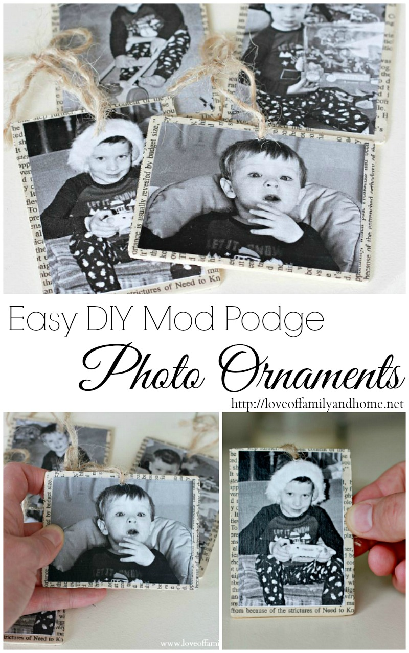 Easy DIY Mod Podge Photo Ornaments