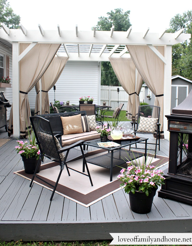 Back deck pergola reveal love of family home for Back deck furniture ideas