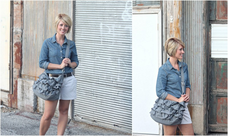 Gray Ruffle Tote via Gathered & Sown