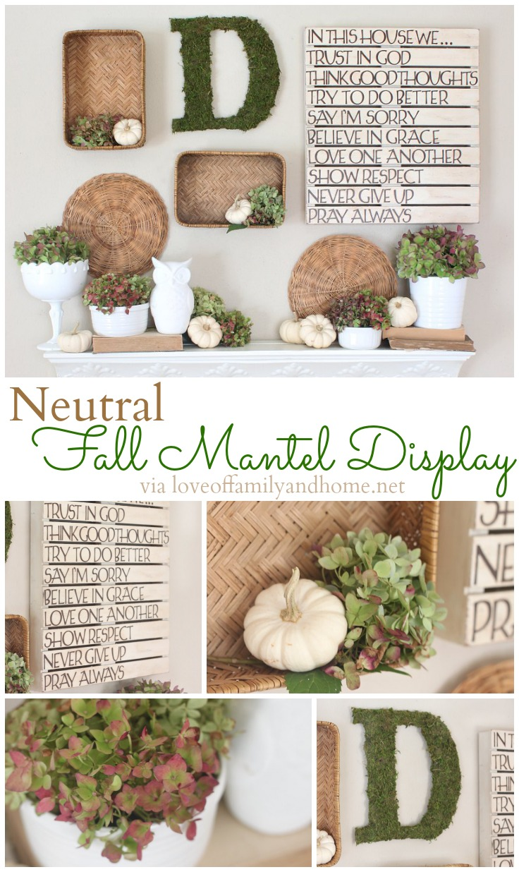 Neutral Fall Mantel Decor via loveoffamilyandhome.net