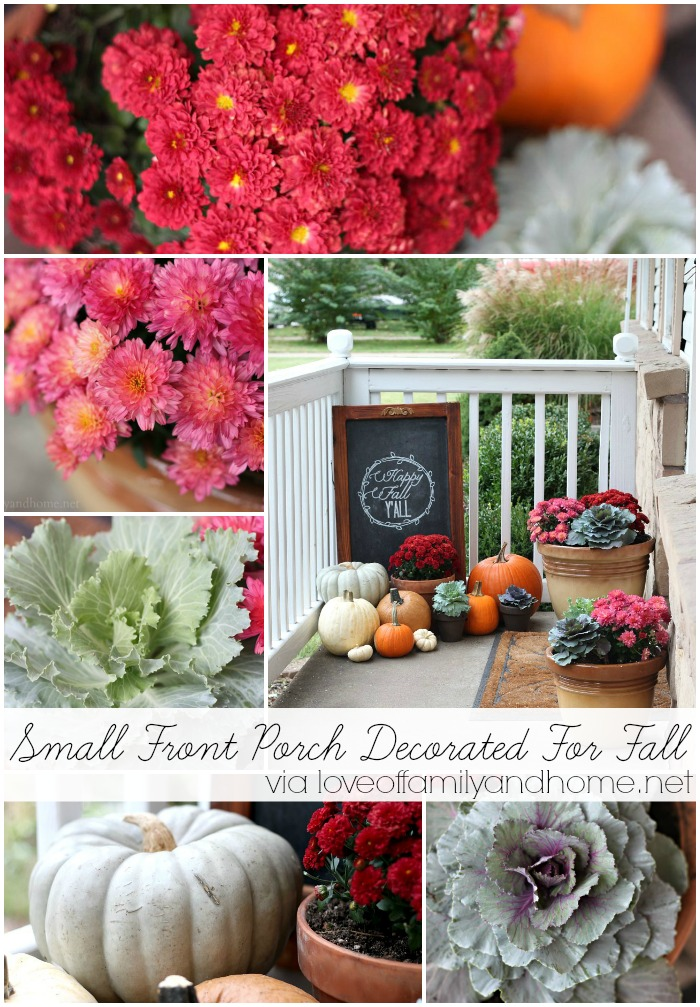 Small Front Porch Decorated For Fall