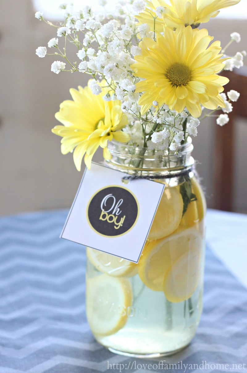 Gray yellow baby shower decorating ideas love of for Baby shower centerpiece decoration