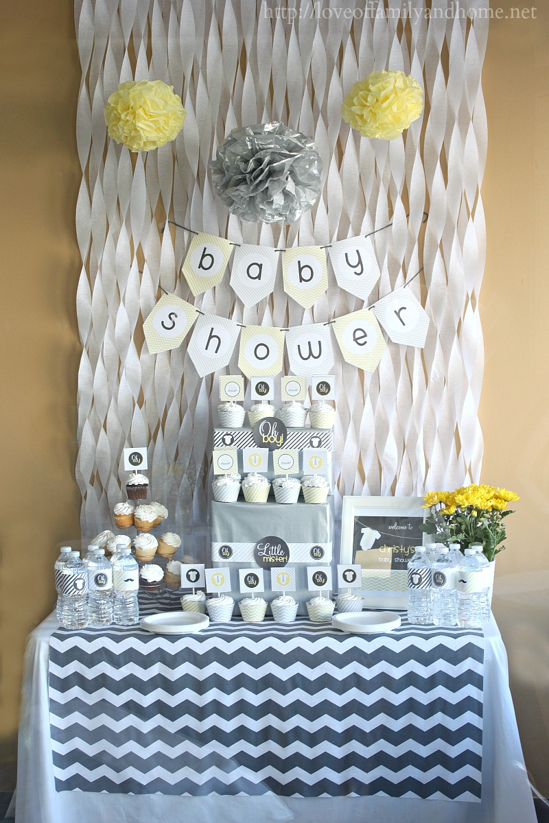 Gray yellow baby shower decorating ideas love of for Baby shower decoration photos