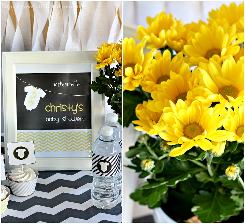 Gray & Yellow Baby Shower Decorating Ideas