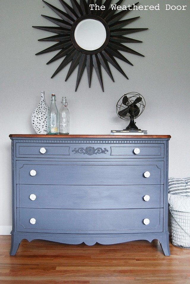 french grey dresser with white rose knobs WD-2