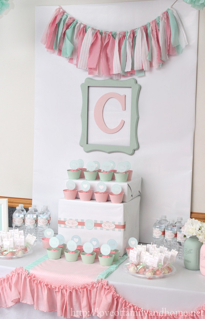 Pink and mint bridal shower my sister 39 s bridal shower for Baby shower decoration store