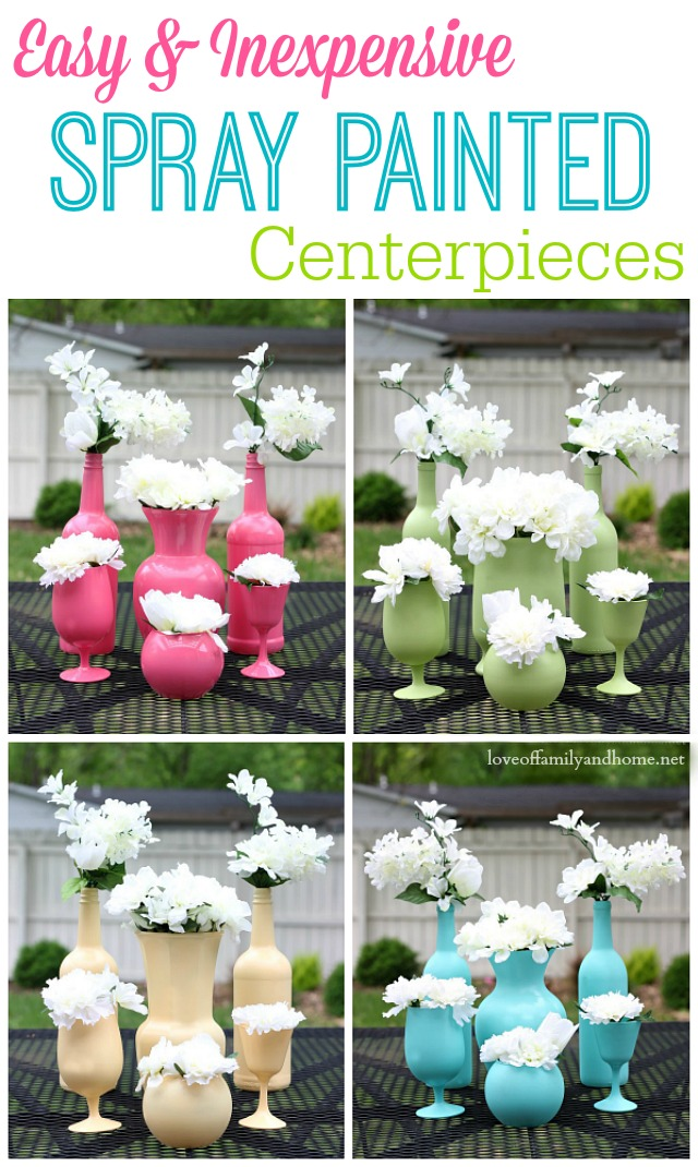 Easy & Inexpensive Spray Painted Centerpieces - Perfect for Any Occasion!  Upcycle old wine bottles & glassware with a little spray paint to create elegant & fun table decor