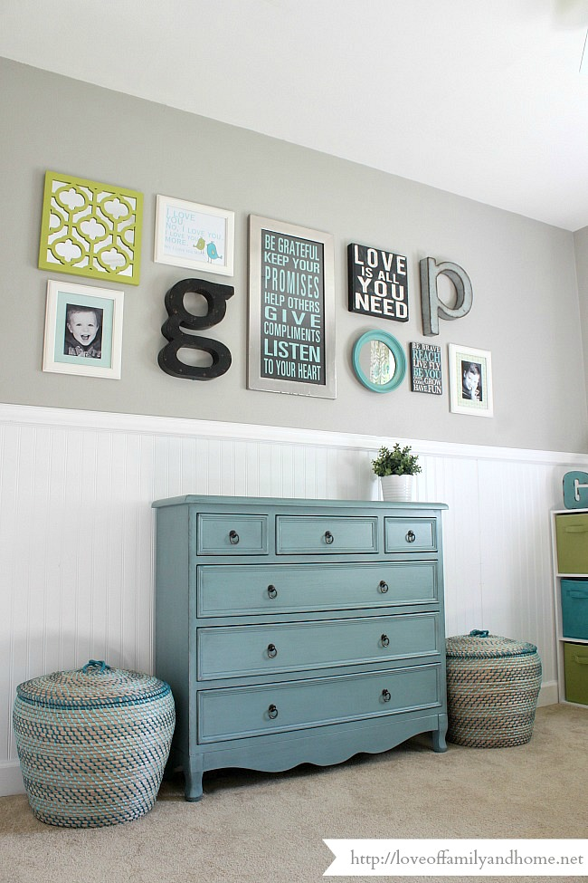 Playroom gallery wall playroom update love of family for Picture wall layout