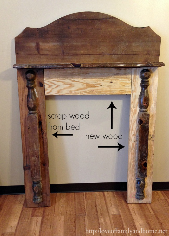 DIY Faux Fireplace Mantel {From an Old Bed} - Love of Family & Home