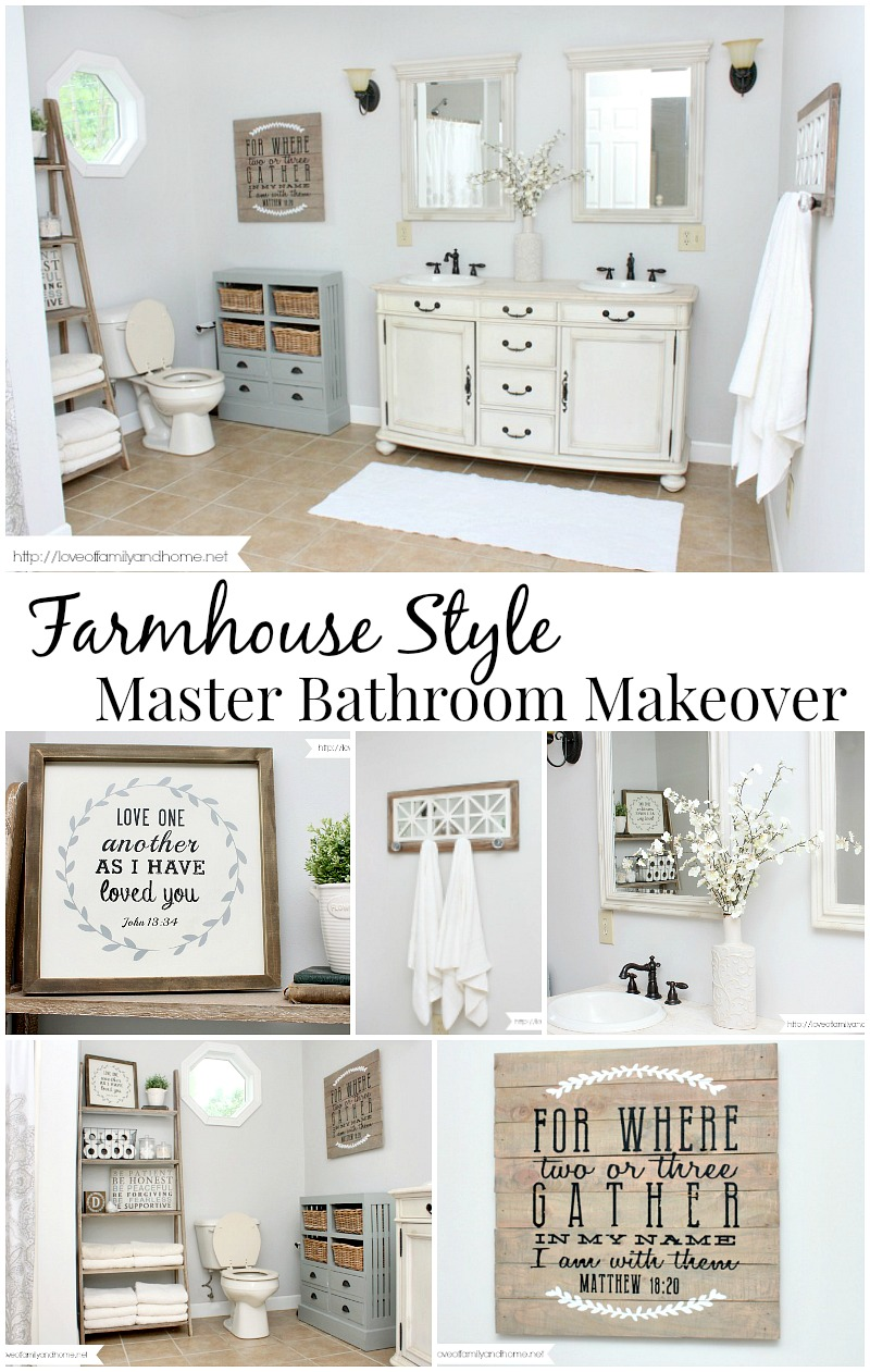 Farmhouse style bathroom makeover love of family home for Looking for bathroom accessories