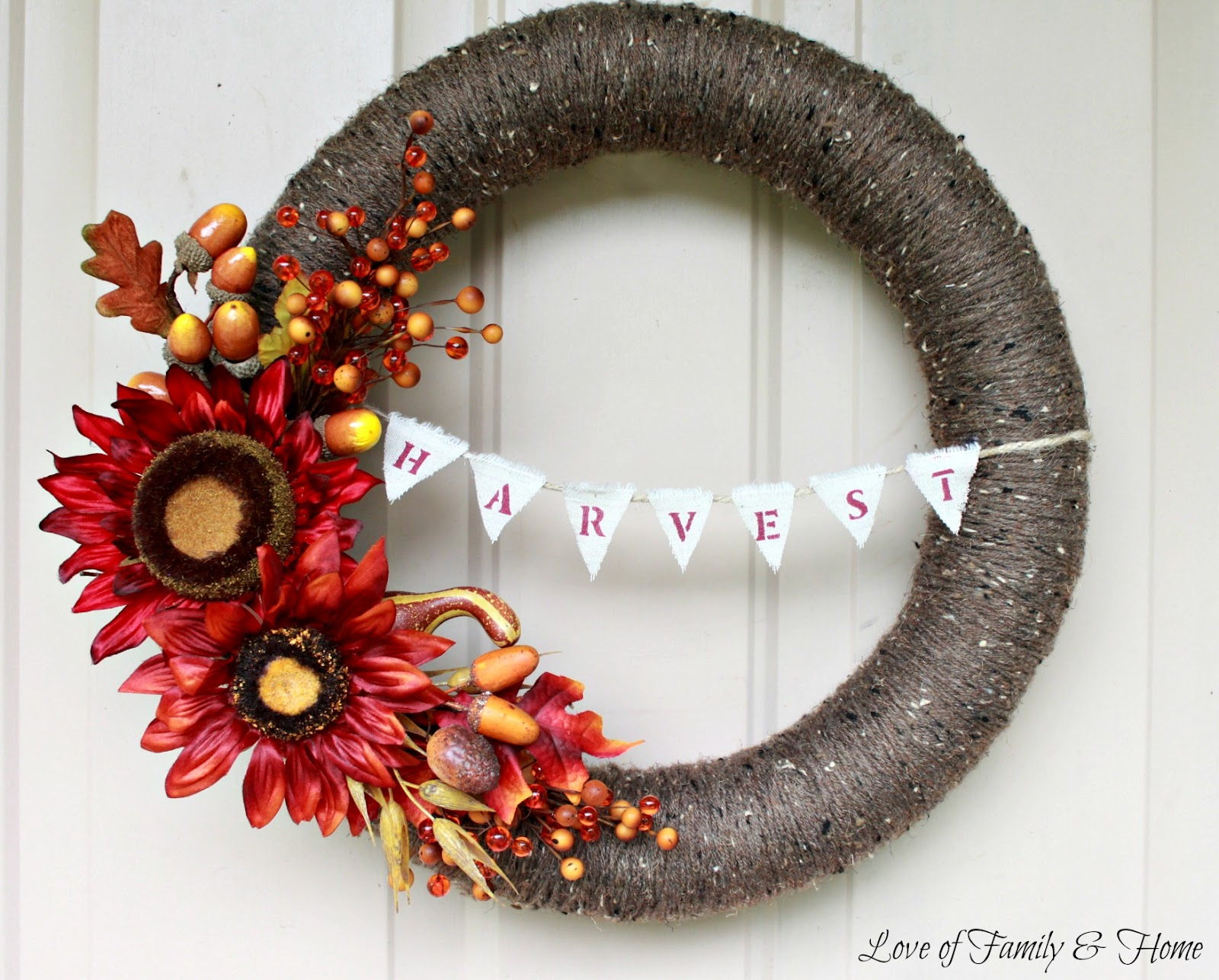 Fall Wreath With Harvest Bunting Pool Noodle Wreath