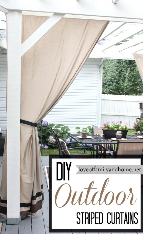 DIY Striped Outdoor Curtains & $75 Home Depot Giveaway - Love of ...