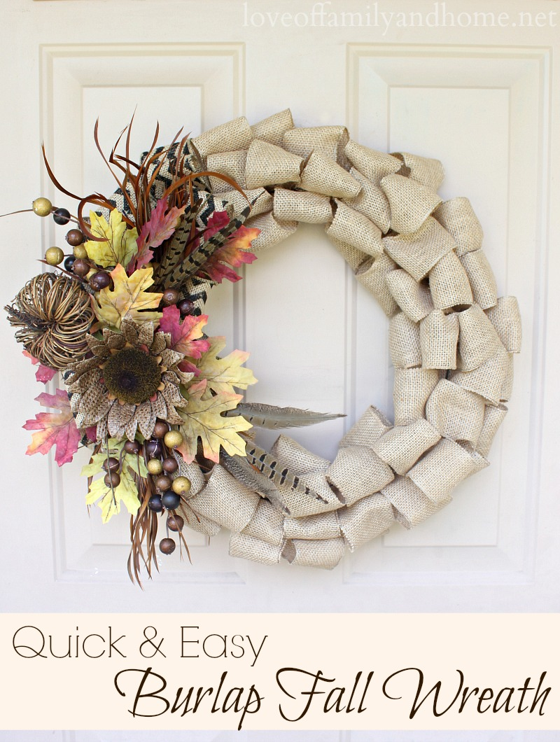 Quick Easy Burlap Fall Wreath Tutorial Love Of