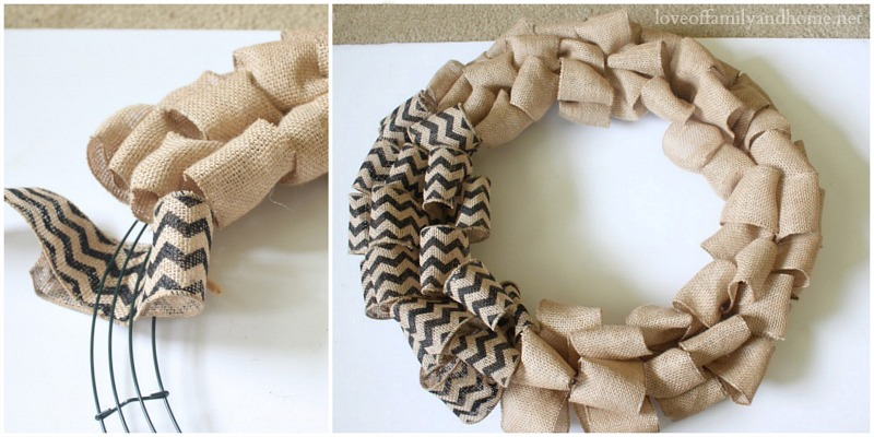 Quick easy burlap fall wreath tutorial love of for How to use burlap ribbon