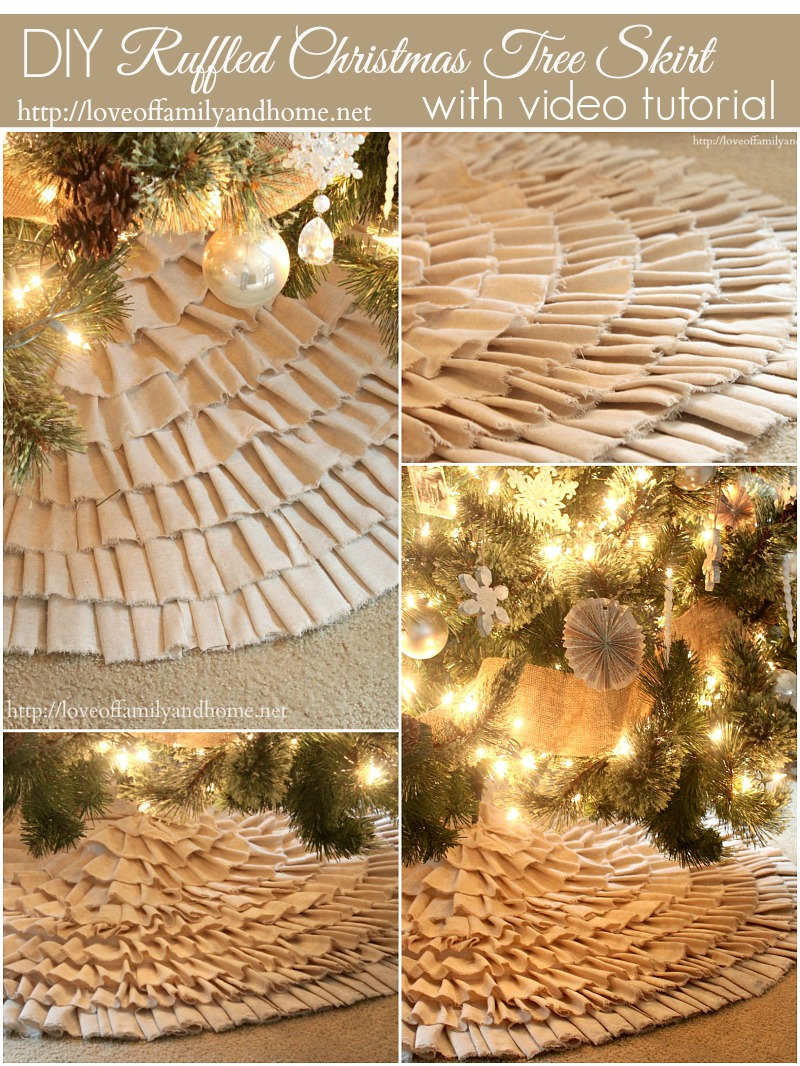 No Sew Ruffle Tree Skirt with Video Tutorial - Love of Family & Home