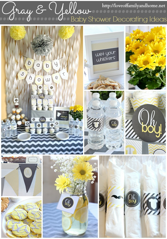 Gray yellow baby shower decorating ideas love of for Baby shower party hall decoration ideas