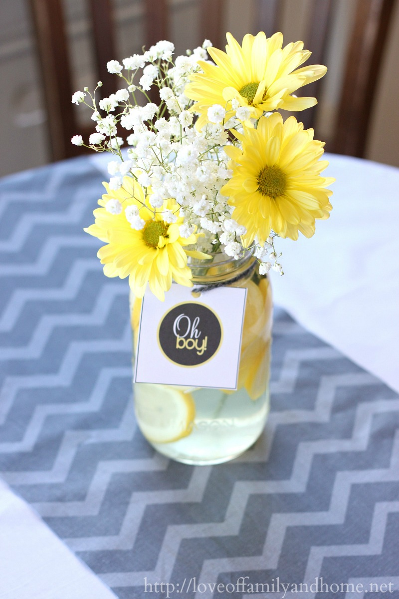 Gray yellow baby shower decorating ideas love of for Baby shower flower decoration ideas