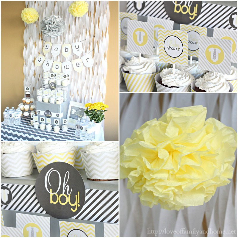 Gray yellow baby shower decorating ideas love of for Home decorations for baby shower