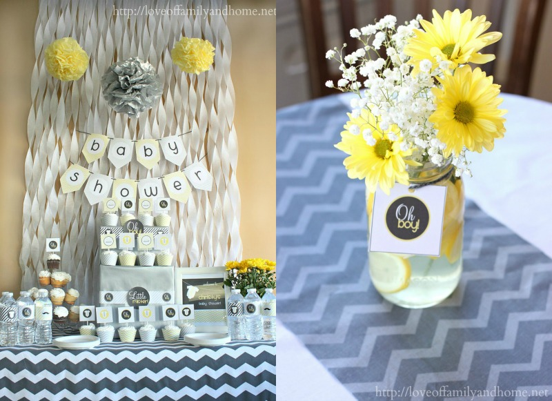 Gray Yellow Baby Shower Decorating Ideas Love Of Family Home