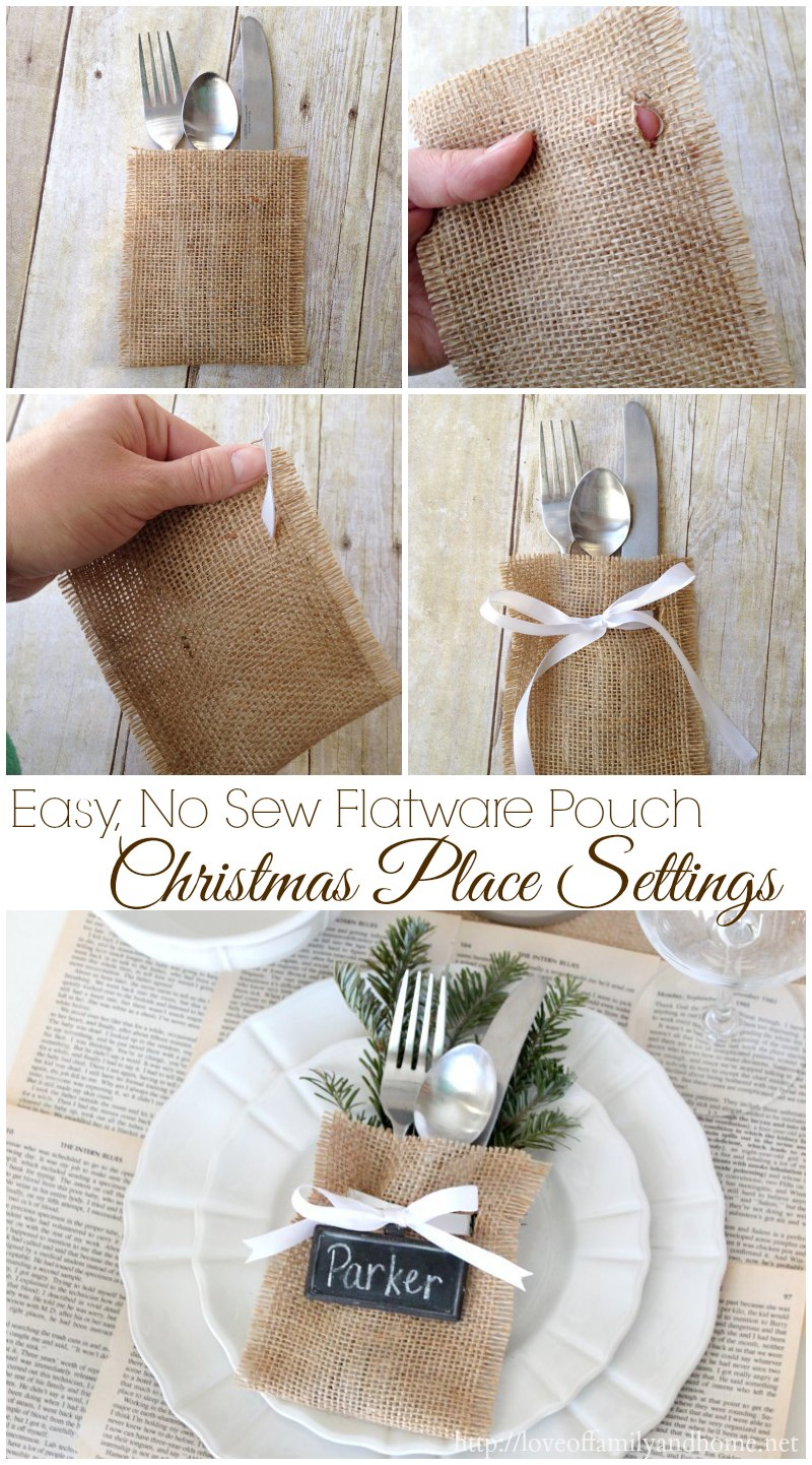 Christmas Place Settings {Easy, No-Sew Flatware Pouch} - Love of ...