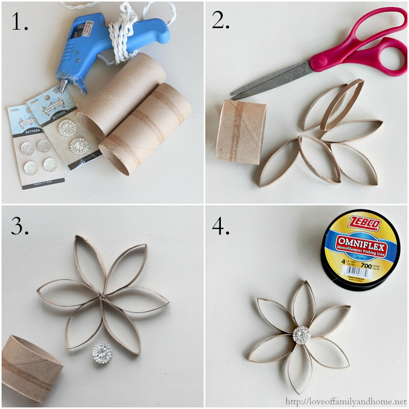 diy christmas ornaments made from recycled toilet paper rolls
