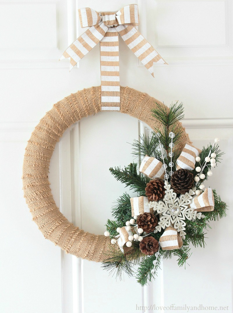 Burlap christmas wreath tutorial love of family home How to hang garland on a christmas tree