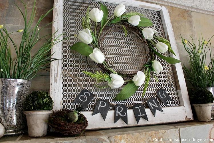 Tulip-Wreath-and-Spring-Mantel-1