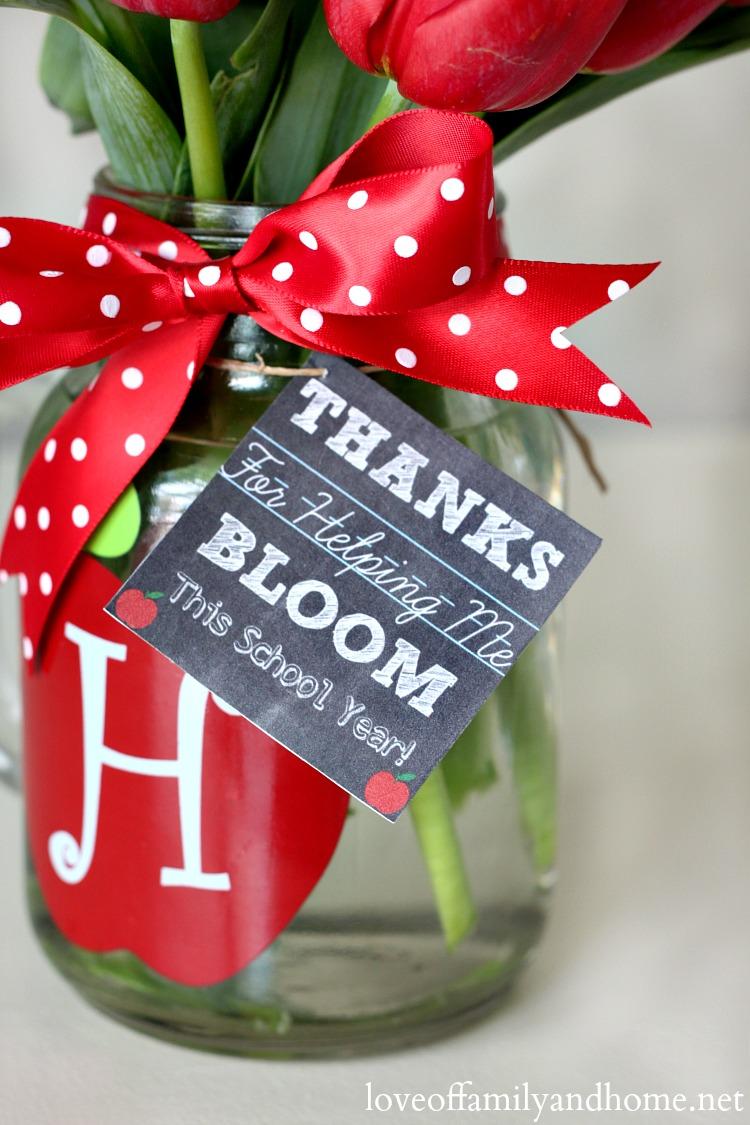 Teacher Gift Ideas Monogram Mason Jar Vase Free Chalkboard Printable Gift Tags Love Of Family Home