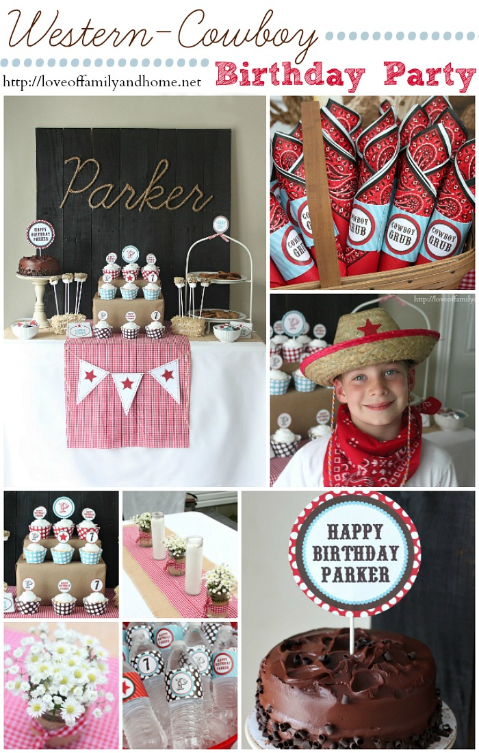 Cowboy Birthday Party: Adorable  Inexpensive ideas for throwing a cowboy themed birthday party. Links to party printables and lots of decorating ideas.