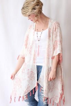 floral & fringe kimono pink 2