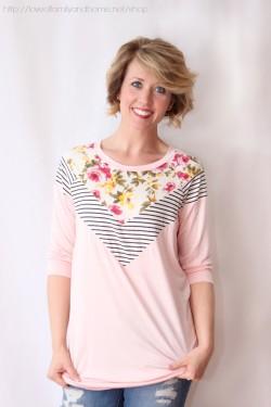 floral & stripes tunic (blush)
