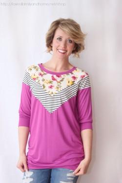 floral & stripes tunic (magenta)