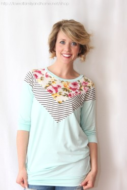 floral & stripes tunic (mint)