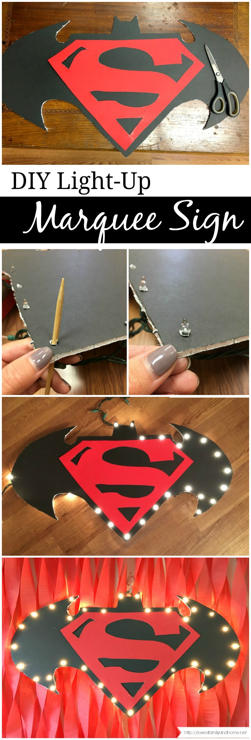 DIY Light Up Marquee Sign Collage