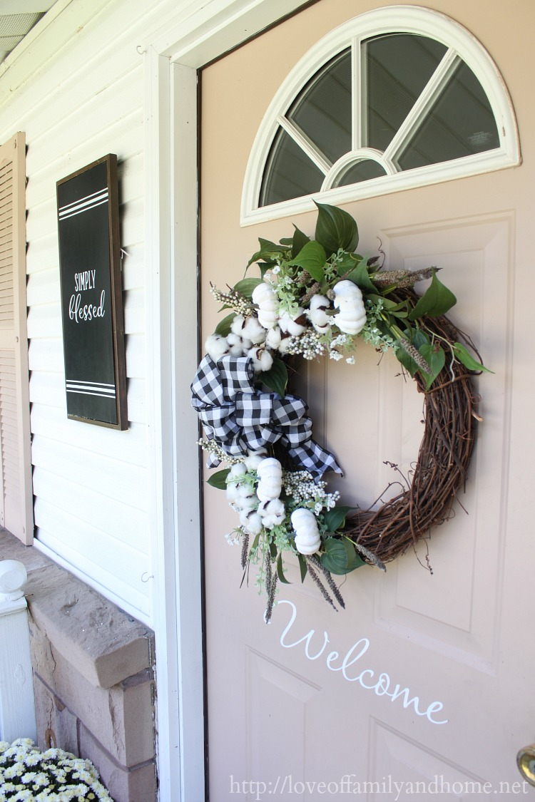 I Started With A Grapevine Wreath And Then Just Added Some Greenery Few Fall Picks Fls White Pumpkins Buffalo Plaid Bow